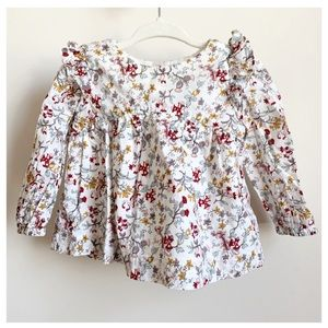 BABY GAP Ivory Floral Cotton Lined Blouse 6-12 EUC